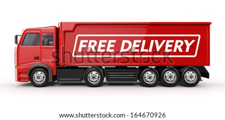 3d Red Truck with Free delivery text - isolated - stock photo