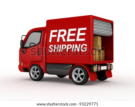 3D Red Van with Free Shipping text isolated - stock photo