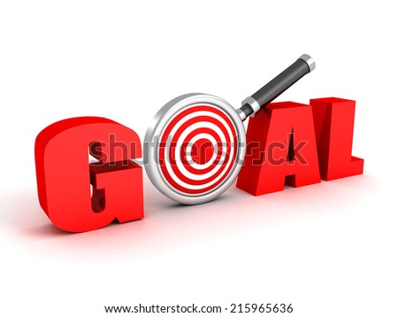 3d red word GOAL with target magnifier glass. success achivement concept 3d render illustration - stock photo