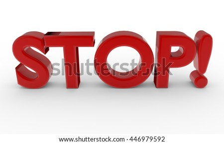 3d red word STOP isolated on white background