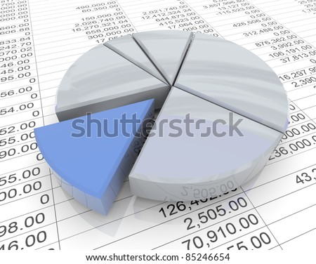 3d reflective pie chart on the background of financial sheet - stock photo