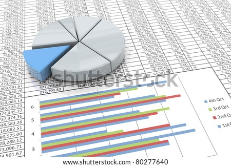3d reflective pie chart on the background of spreadsheet - stock photo