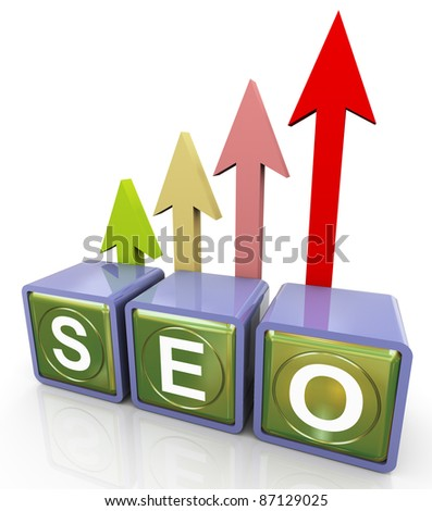 3d reflective seo (search engine optimization ) text box with progress arrow