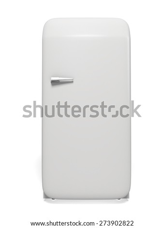 3D. Refrigerator, Old-fashioned, Appliance. - stock photo