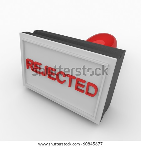 3d rejected rubber stamp isolated on white