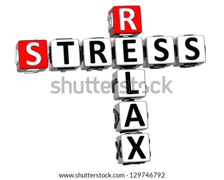 3D Relax Stress Crossword on white background - stock photo