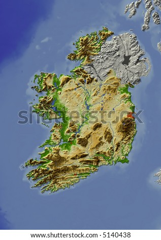 3D relief map of Ireland.  Shows major cities and rivers, surrounding territory greyed out.  Artificially colored according to terrain height. - stock photo