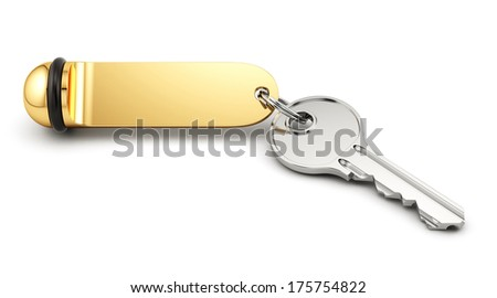 3d rende of hotel room key with golden lable. Isolated on white background - stock photo