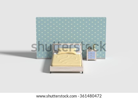 3d rendeing of a bedroom interior in white,blue and yellow colors.Illustration - stock photo