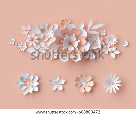 3d render abstract paper flowers bridal stock illustration 608803472 3d render abstract paper flowers bridal bouquet decorative floral design elements peachy mightylinksfo Gallery