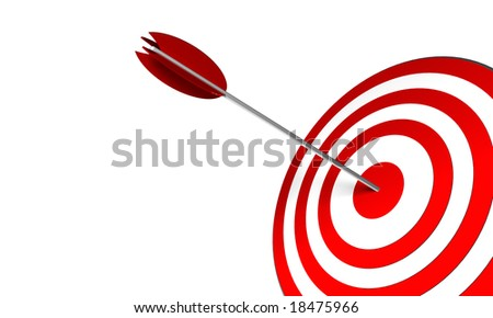 3D Render. Arrow on target. Concept: Success, skill, objectives - stock photo