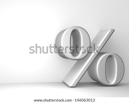 3d render. Background empty room with space for your text and Percent Sign