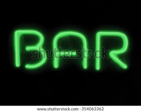 3d render bar green neon sign isolated on black background
