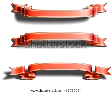 3D render bitmap - shiny red ribbon with gold strips on white - stock photo