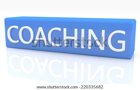 3d render blue box with text Coaching on it on white background with reflection - stock photo