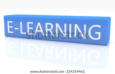 3d render blue box with text E-learning on it on white background with reflection - stock photo