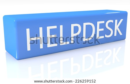 3d render blue box with text Helpdesk on it on white background with reflection - stock photo