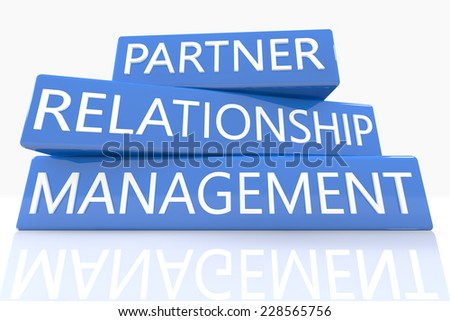 3d render blue box with text Partner Relationship Management on it on white background with reflection