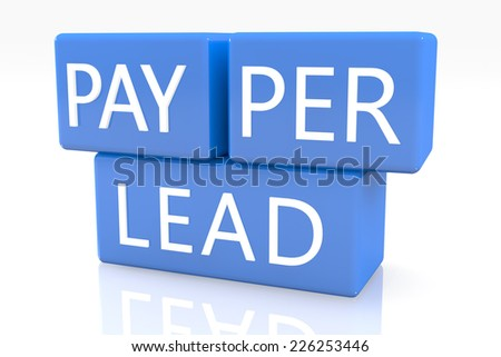 3d render blue box with text Pay per Lead on it on white background with reflection
