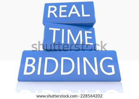 3d render blue box with text Real Time Bidding on it on white background with reflection - stock photo