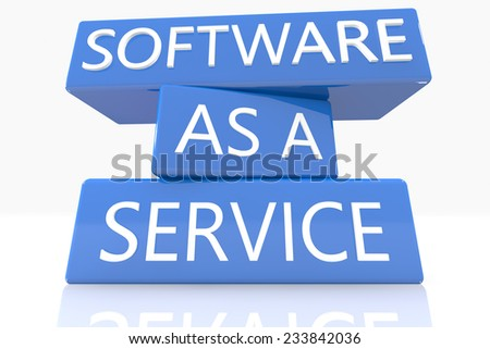 3d render blue box with text Software as a Service on it on white background with reflection - stock photo