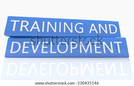 3d render blue box with text Training and Development on it on white background with reflection - stock photo