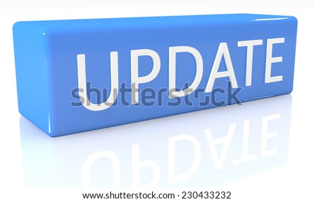 3d render blue box with text Update on it on white background with reflection - stock photo