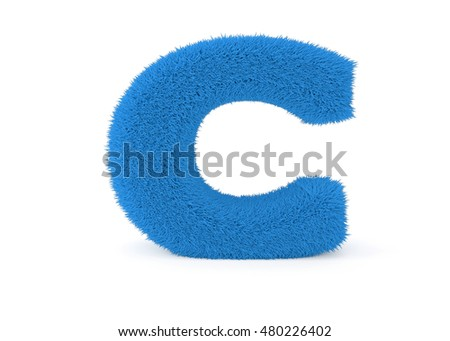 3d render blue furry letter C on a white background.