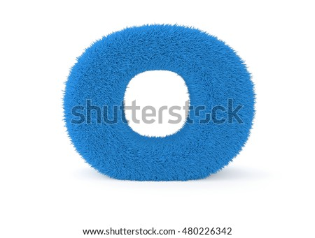 3d render blue furry letter O on a white background.