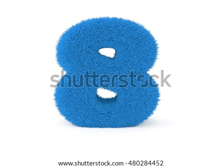 3d render blue furry number 8 on a white background.