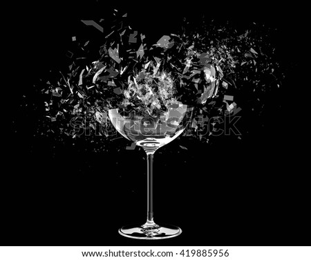 3d render Breaking wine glass on black - stock photo
