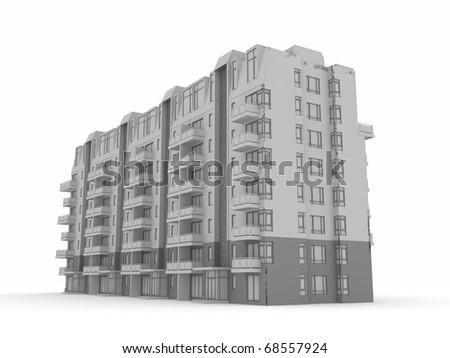 3D render building - stock photo