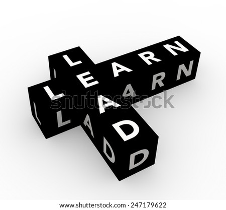 3d render business concept Learn and Lead with eight black cubes on a white background.  - stock photo