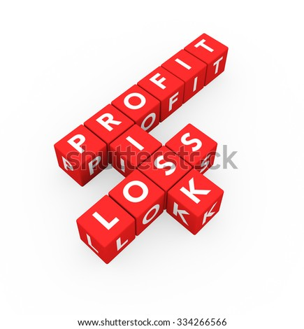 3d render business concept Profit Risk Loss with twelve crossword red cubes on a white background.  - stock photo