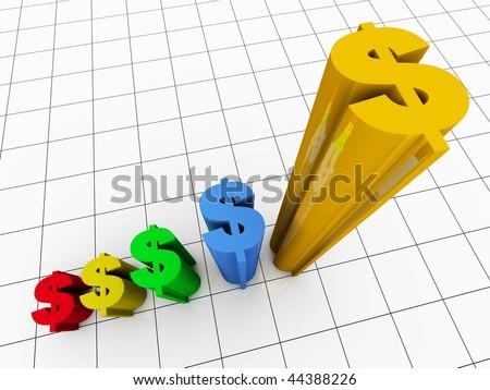 3d Render Business Graph Bar Chart - stock photo