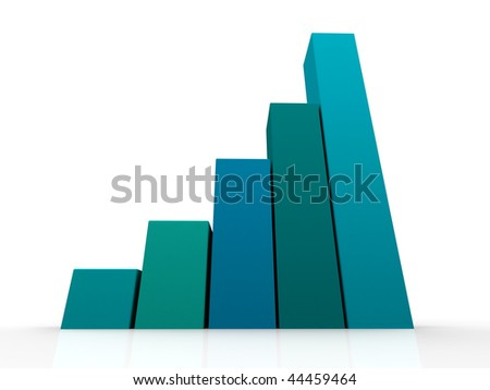 3d Render Business Graph Bar Chart