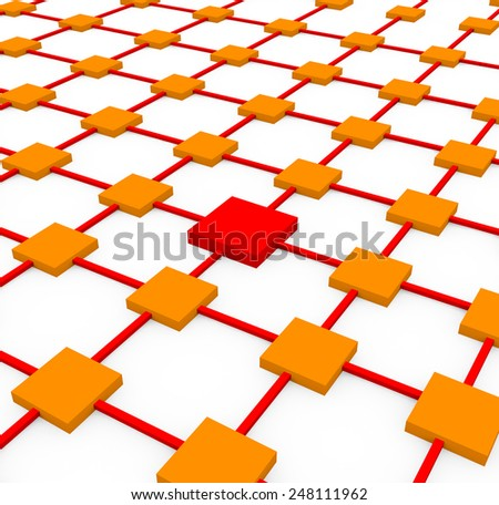 3d render business network concept with several orange cubes and a red cube connected on a white background.  - stock photo