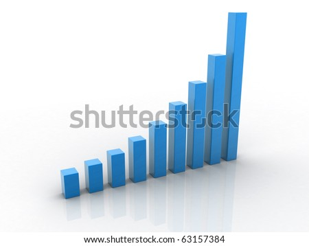 3d render bussiness graph isolated on white background - stock photo
