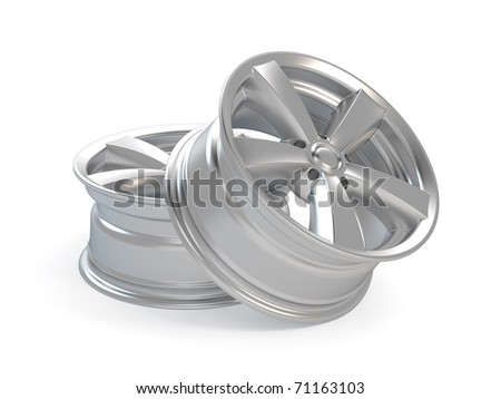 3d render car alloy wheel, isolated over white background - stock photo