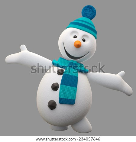3d render character, cheerful white snowman with knitted hat and scarf, cartoon ilustration isolated on white background, cute snow man with hands and legs, Christmas cards, decorations, winter mascot - stock photo