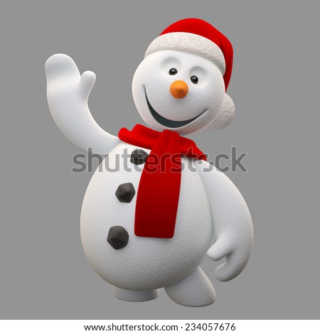 3d render character, cheerful white snowman with knitted hat and scarf, cartoon ilustration isolated on white background, cute snow man with hands and legs, Christmas cards, decorations, winter mascot