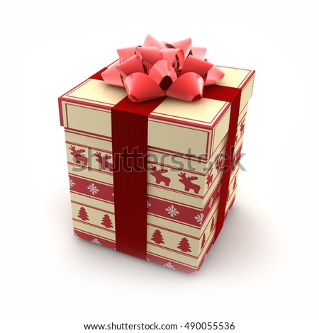 3d render - Christmas gift box with red bow over white background