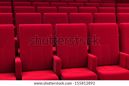 3d render cinema seats red fabric (depth of field)
