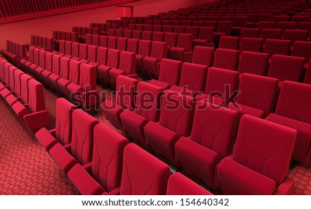 3d render cinema stage (sound system, spectacular lighting, upholstered in red fabric)