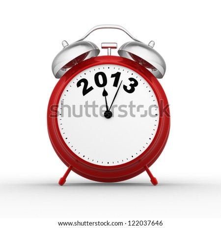 3d  render classic alarm clock. 2013 new year - stock photo