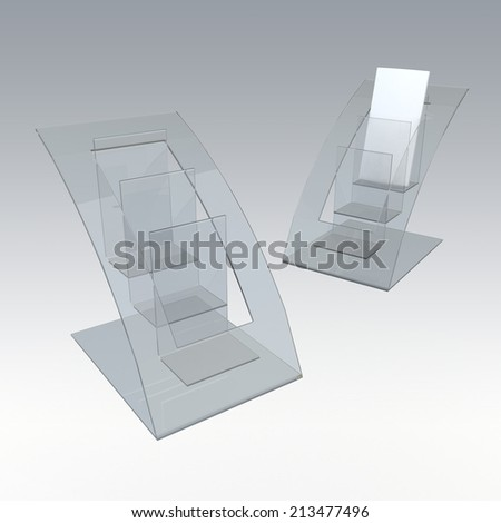 3D render clear acrylic brochure holder in isolated background with work paths, clipping paths included - stock photo