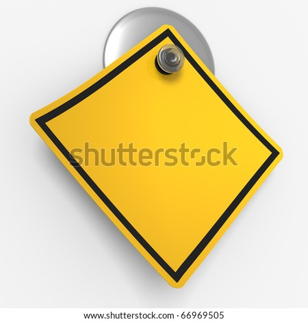 3D render concept illustration of sticky warning sign, with blank copy space - stock photo