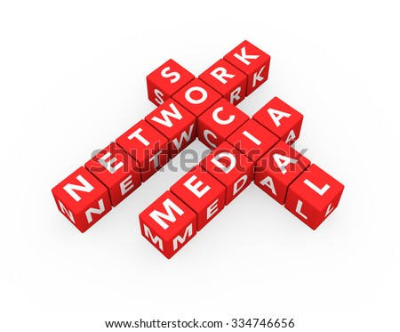 3d render concept Social Media Network with sixteen crossword red cubes on a white background.  - stock photo