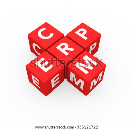 3d render concepts ERP Enterprise Resource Planning and CRM Customer Relationship Management with red cubes on a white background.  - stock photo