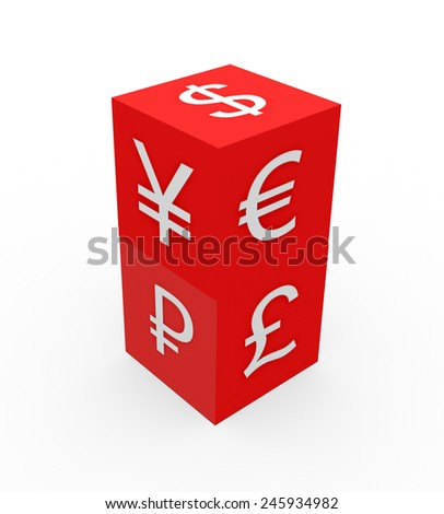 3d render currency symbols concept with two red dices with dollar, euro, pound, yen, ruble symbols on a white background.  - stock photo